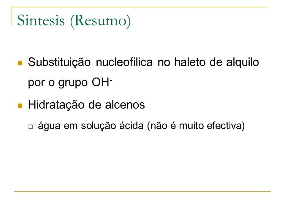 Sintesis (Resumo) Substituição nucleofilica no haleto de alquilo por o grupo OH- Hidratação de alcenos.