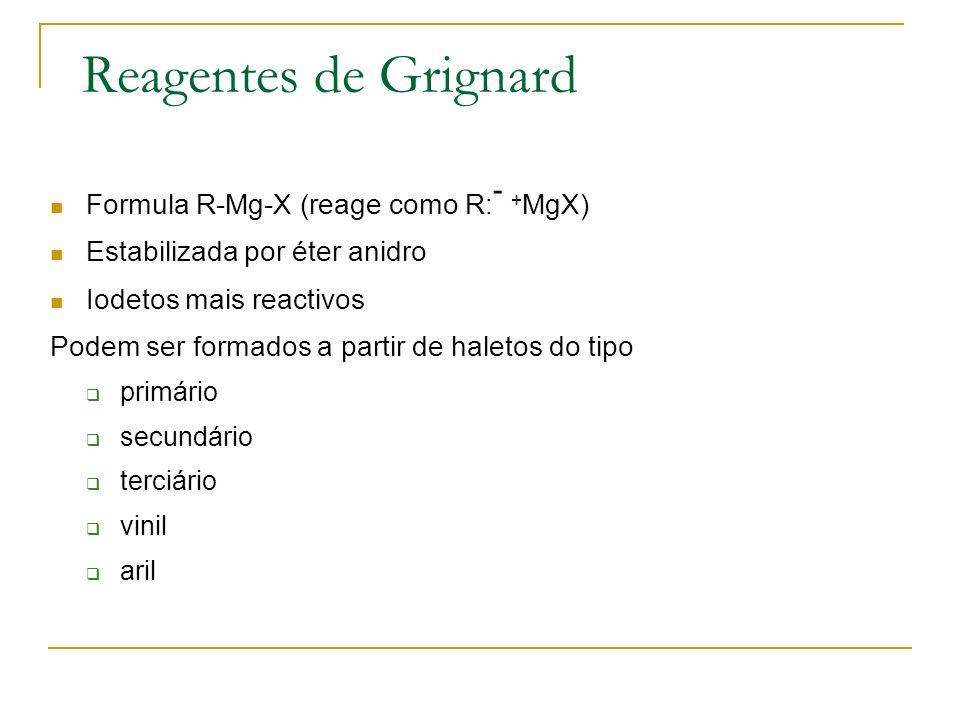 Reagentes de Grignard Formula R-Mg-X (reage como R:- +MgX)