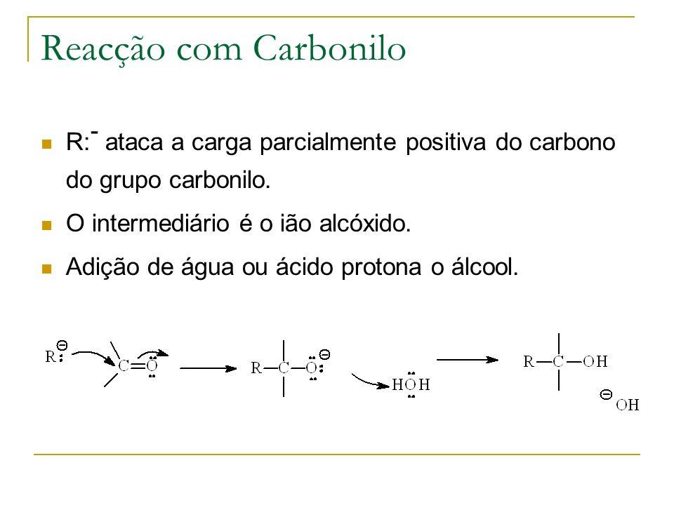 Reacção com Carbonilo R:- ataca a carga parcialmente positiva do carbono do grupo carbonilo. O intermediário é o ião alcóxido.