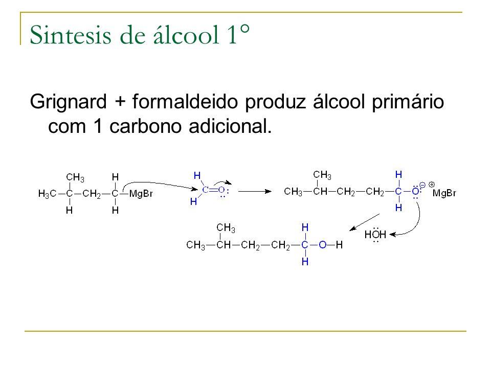 Sintesis de álcool 1° Grignard + formaldeido produz álcool primário com 1 carbono adicional.