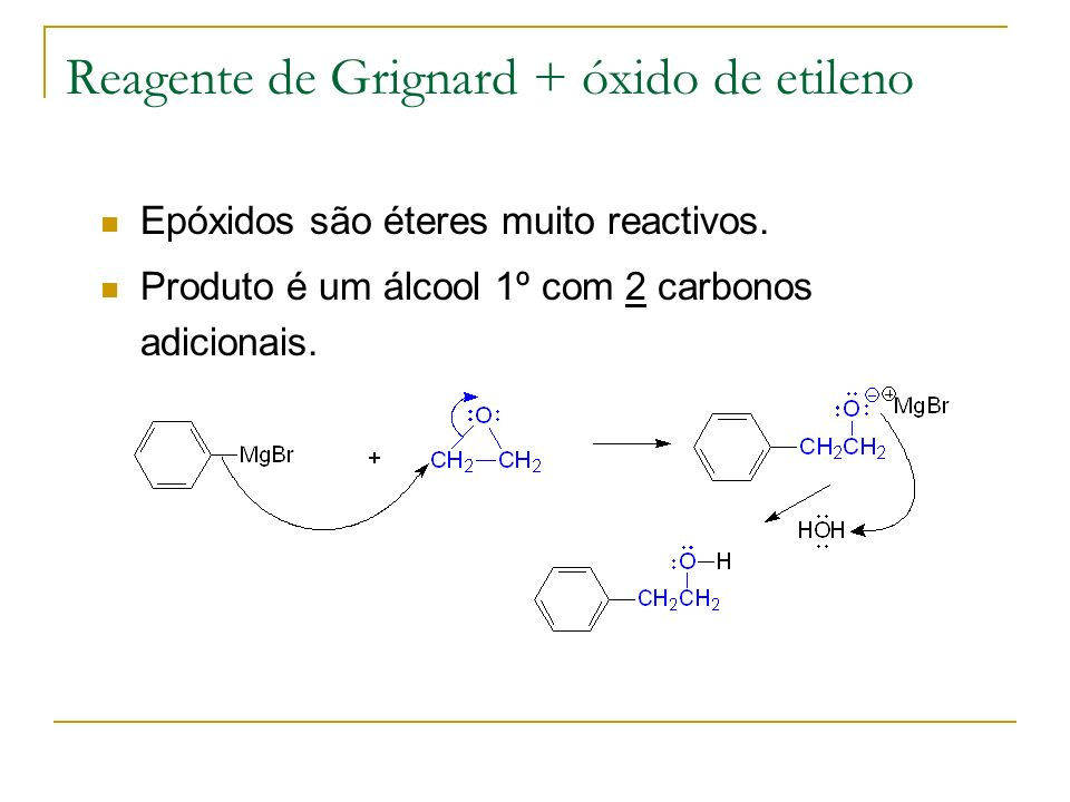Reagente de Grignard + óxido de etileno