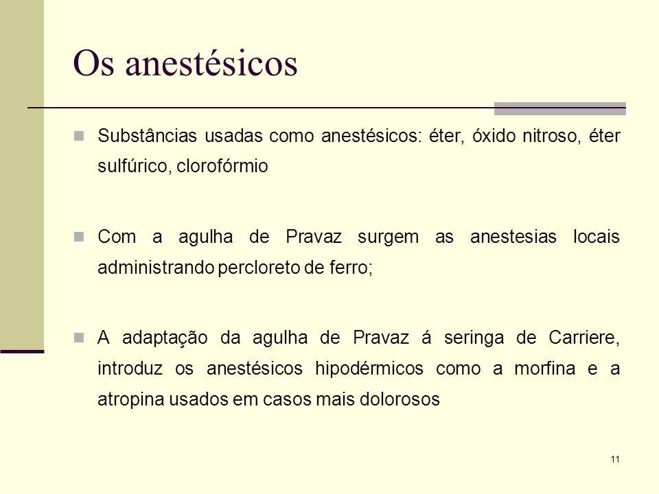 Os anestésicosSubstâncias usadas como anestésicos: éter, óxido nitroso, éter sulfúrico, clorofórmio.
