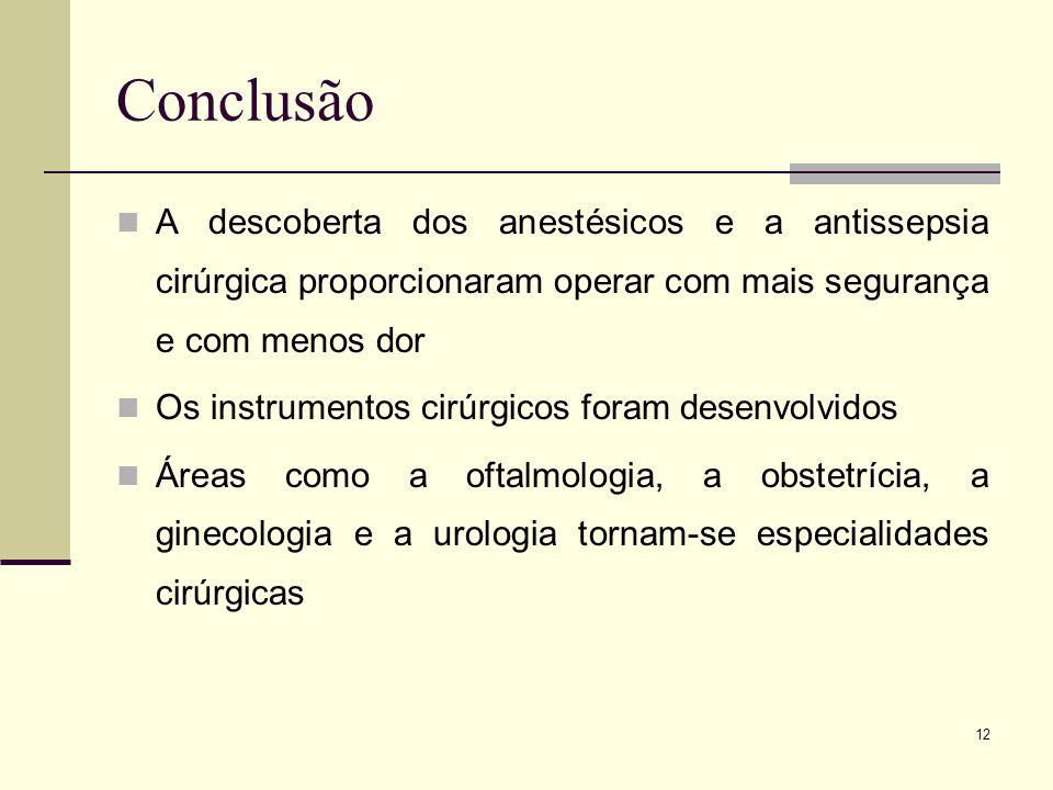 Conclusão A descoberta dos anestésicos e a antissepsia cirúrgica proporcionaram operar com mais segurança e com menos dor.