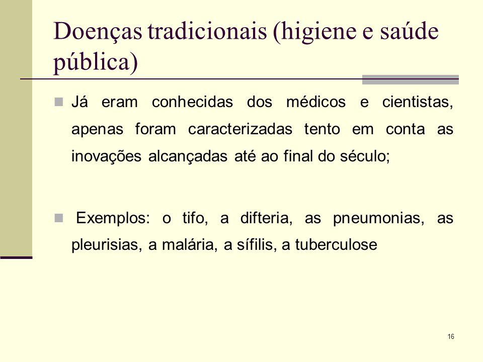 Doenças tradicionais (higiene e saúde pública)