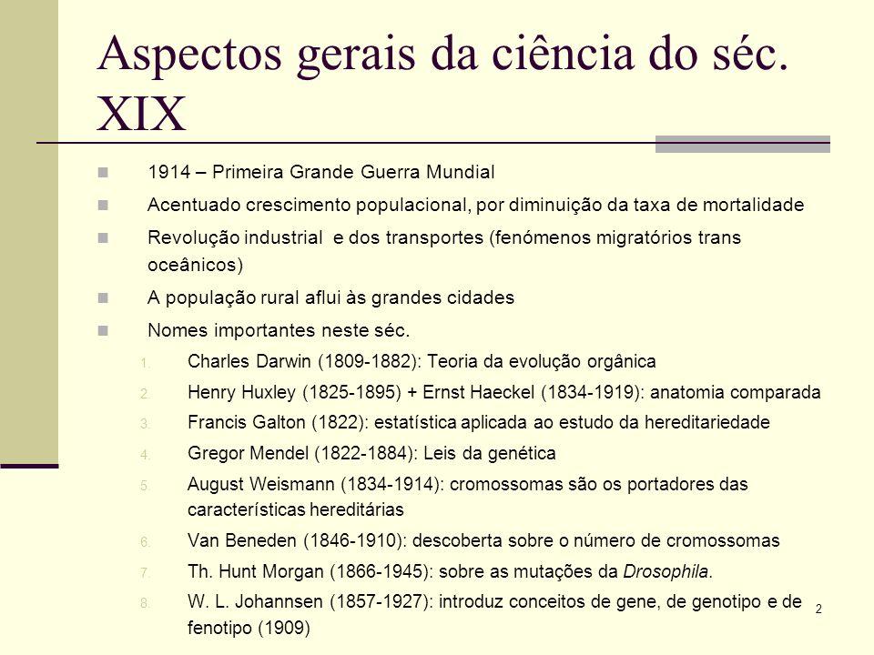 Aspectos gerais da ciência do séc. XIX
