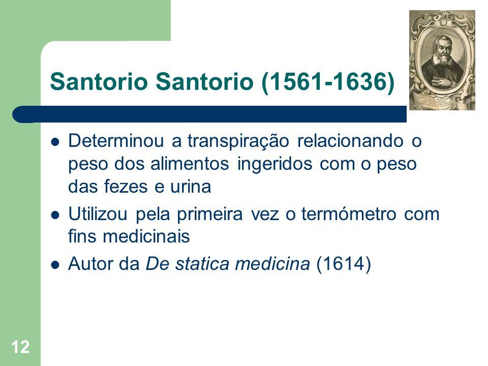 Santorio Santorio (1561-1636) Determinou a transpiração relacionando o peso dos alimentos ingeridos com o peso das fezes e urina.