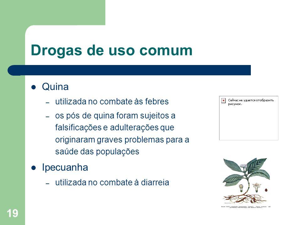 Drogas de uso comum Quina Ipecuanha utilizada no combate às febres