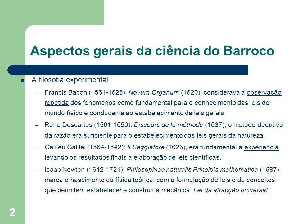 Aspectos gerais da ciência do Barroco