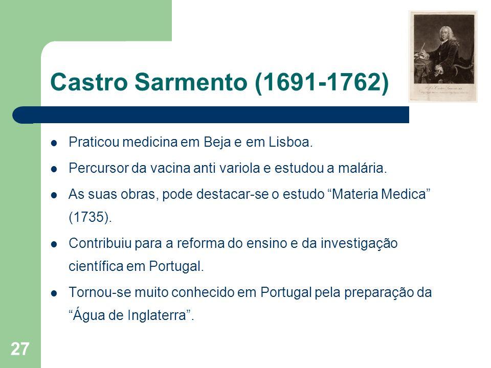 Castro Sarmento (1691-1762) Praticou medicina em Beja e em Lisboa.