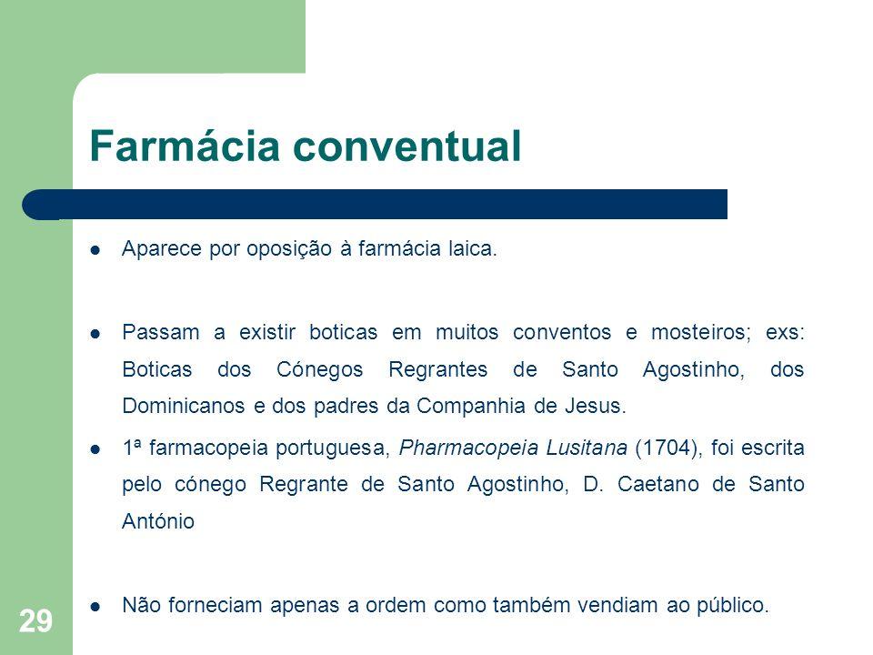 Farmácia conventual Aparece por oposição à farmácia laica.