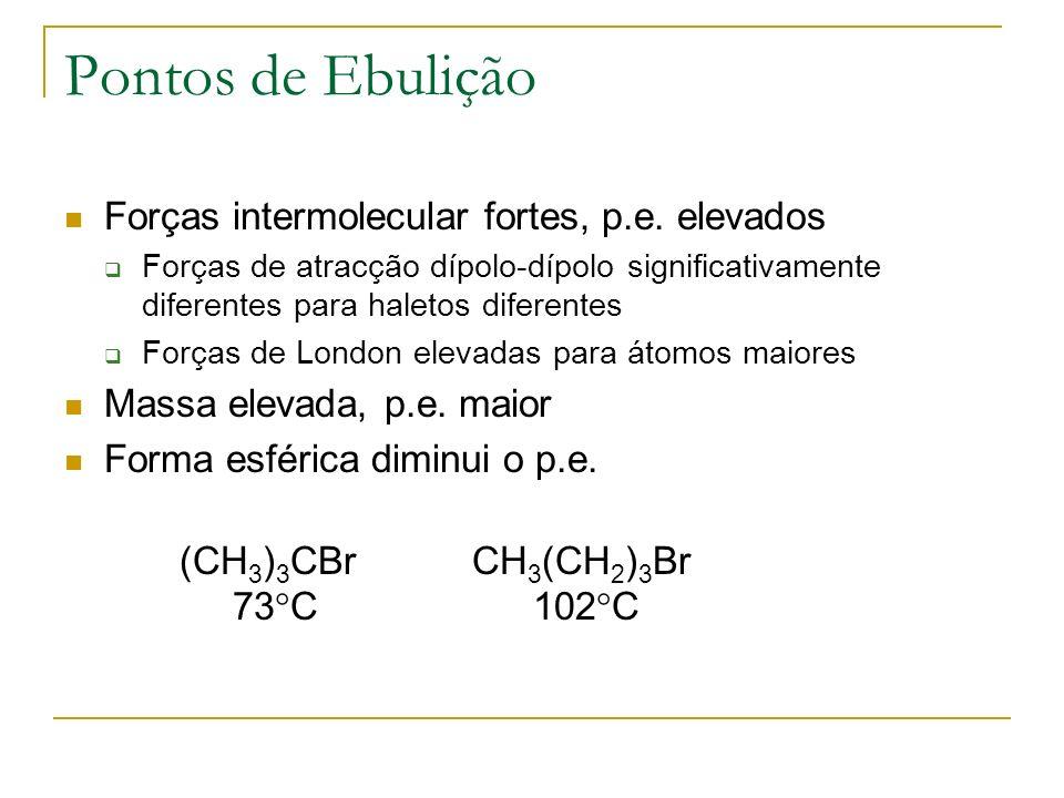 Pontos de Ebulição Forças intermolecular fortes, p.e. elevados