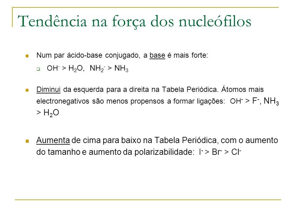 Tendência na força dos nucleófilos