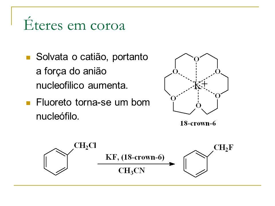 Éteres em coroa Solvata o catião, portanto a força do anião nucleofilico aumenta.