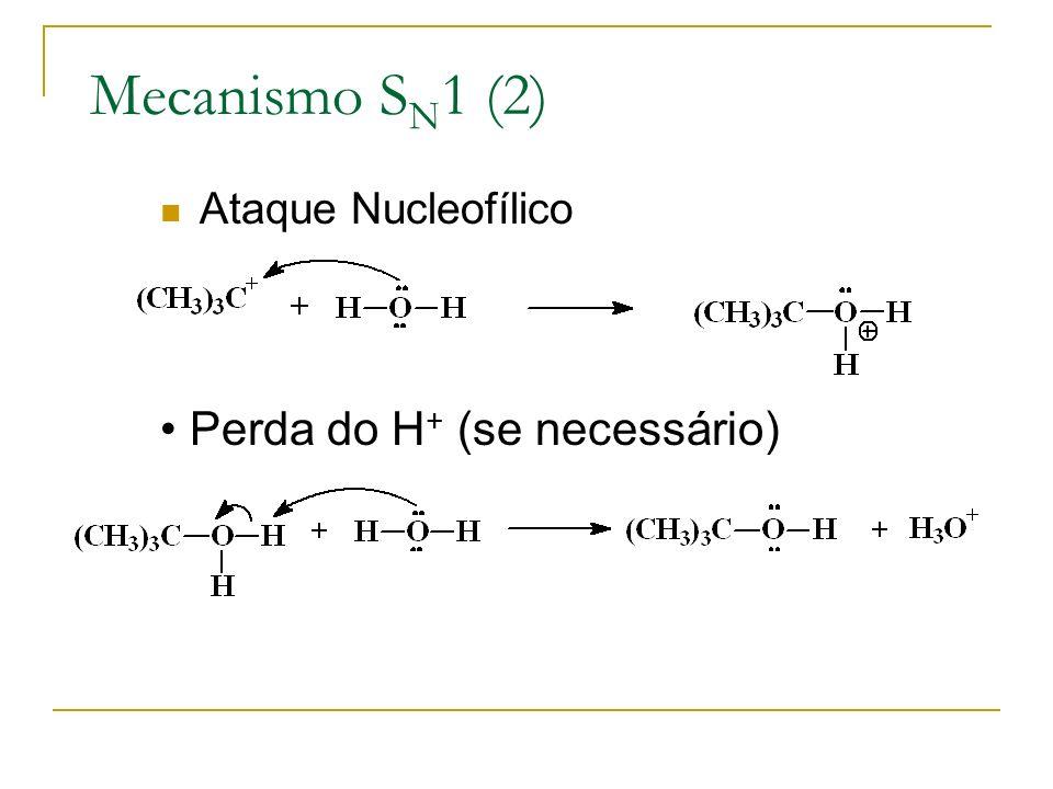 Mecanismo SN1 (2) Ataque Nucleofílico Perda do H+ (se necessário)