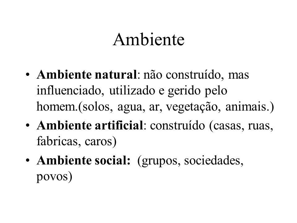 Ambiente Ambiente natural: não construído, mas influenciado, utilizado e gerido pelo homem.(solos, agua, ar, vegetação, animais.)