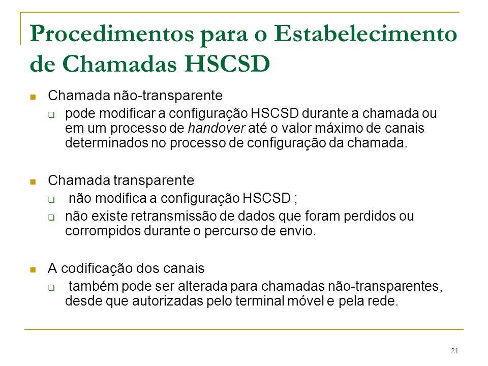 Procedimentos para o Estabelecimento de Chamadas HSCSD