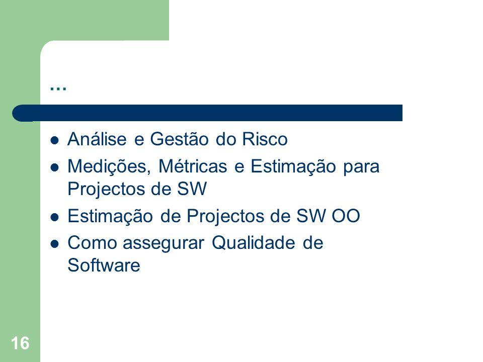 … Análise e Gestão do Risco. Medições, Métricas e Estimação para Projectos de SW. Estimação de Projectos de SW OO.
