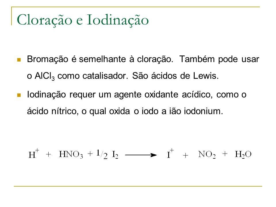 Cloração e Iodinação Bromação é semelhante à cloração. Também pode usar o AlCl3 como catalisador. São ácidos de Lewis.