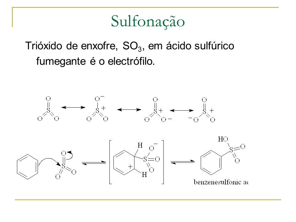 Sulfonação Trióxido de enxofre, SO3, em ácido sulfúrico fumegante é o electrófilo.