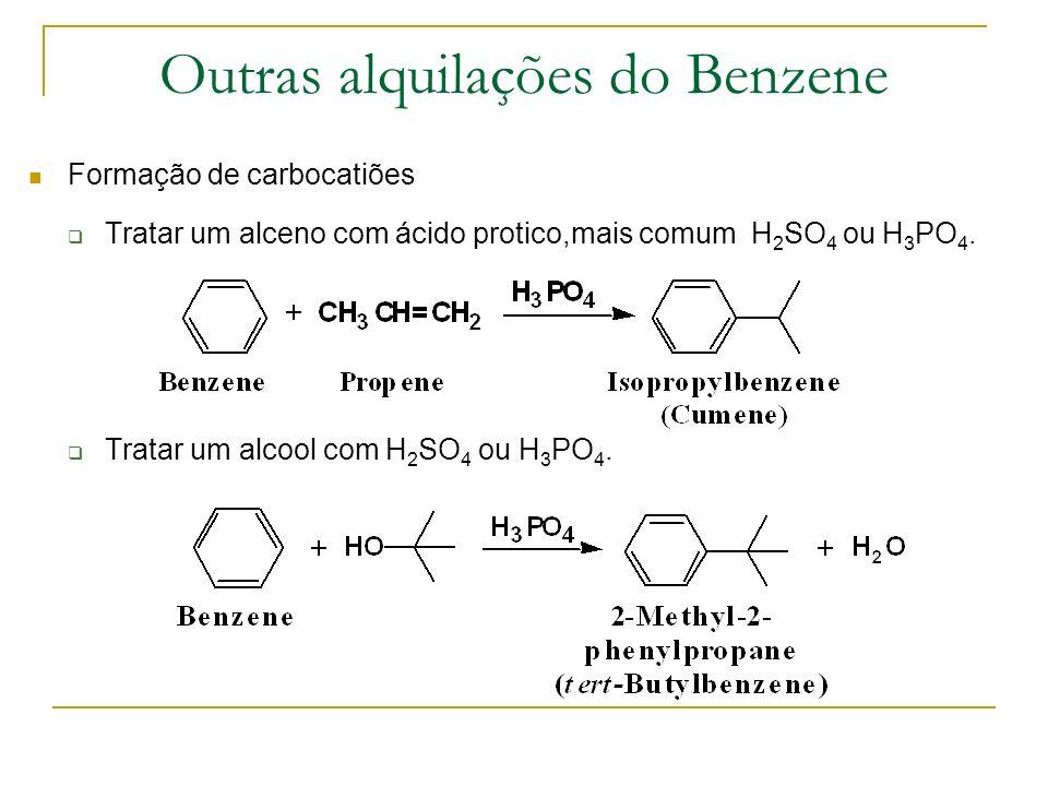 Outras alquilações do Benzene
