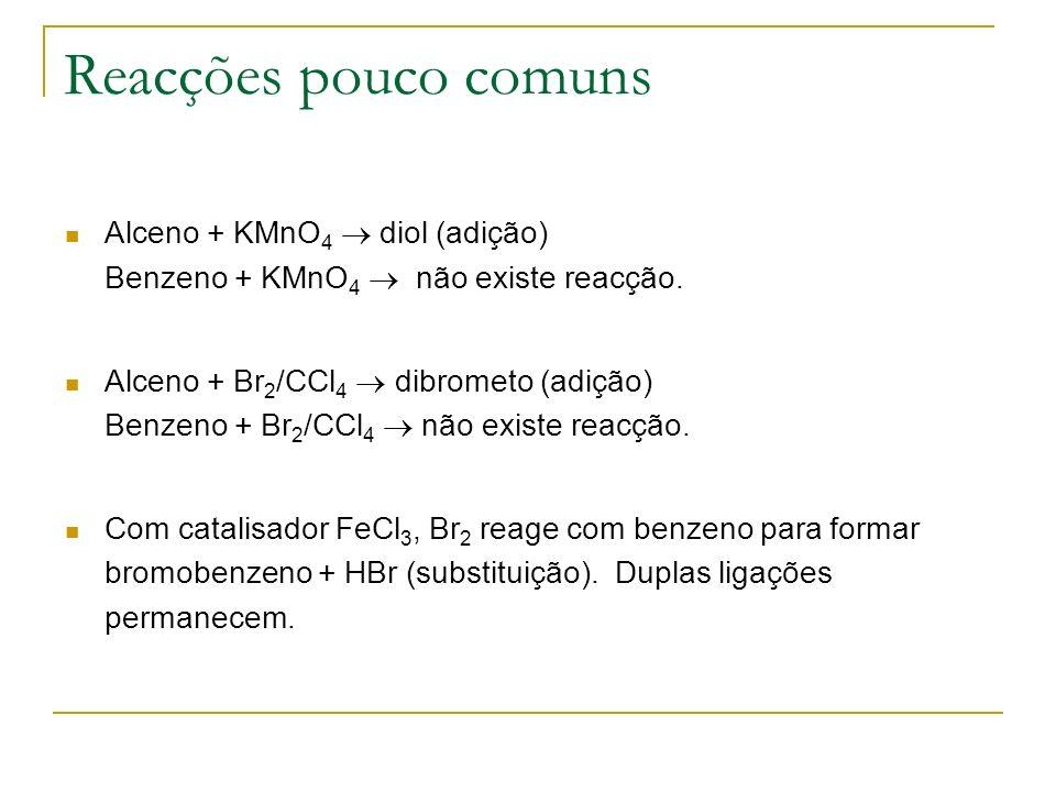Reacções pouco comunsAlceno + KMnO4  diol (adição) Benzeno + KMnO4  não existe reacção.