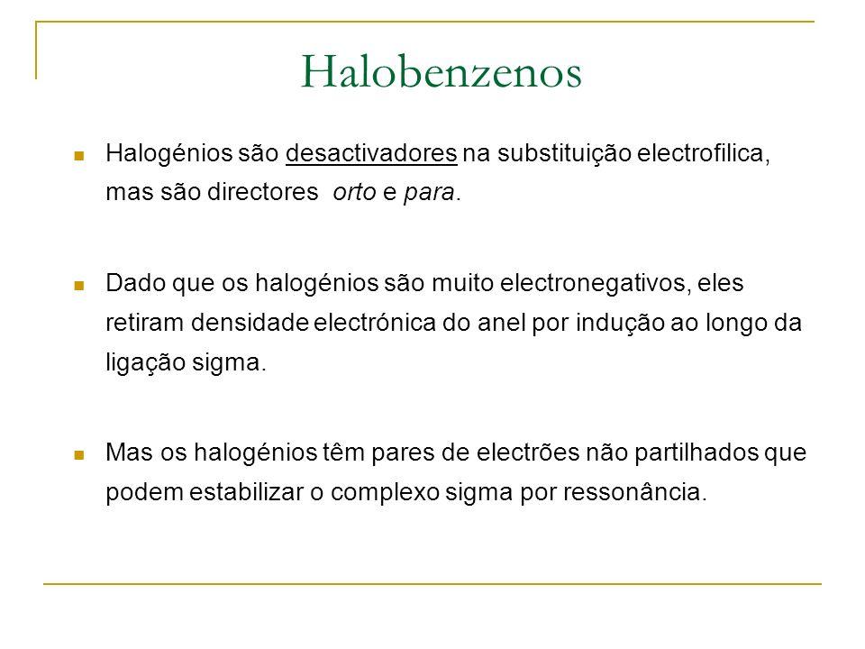 Halobenzenos Halogénios são desactivadores na substituição electrofilica, mas são directores orto e para.