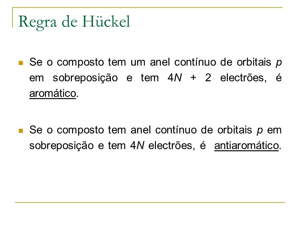 Regra de Hückel Se o composto tem um anel contínuo de orbitais p em sobreposição e tem 4N + 2 electrões, é aromático.