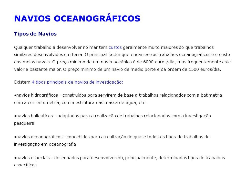 NAVIOS OCEANOGRÁFICOS