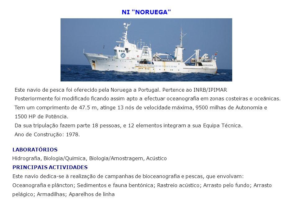 NI NORUEGA Este navio de pesca foi oferecido pela Noruega a Portugal. Pertence ao INRB/IPIMAR.