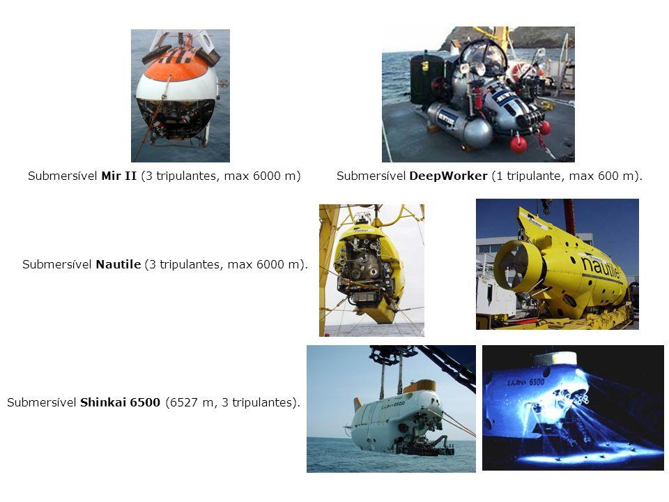 Submersível Mir II (3 tripulantes, max 6000 m) Submersível DeepWorker (1 tripulante, max 600 m).
