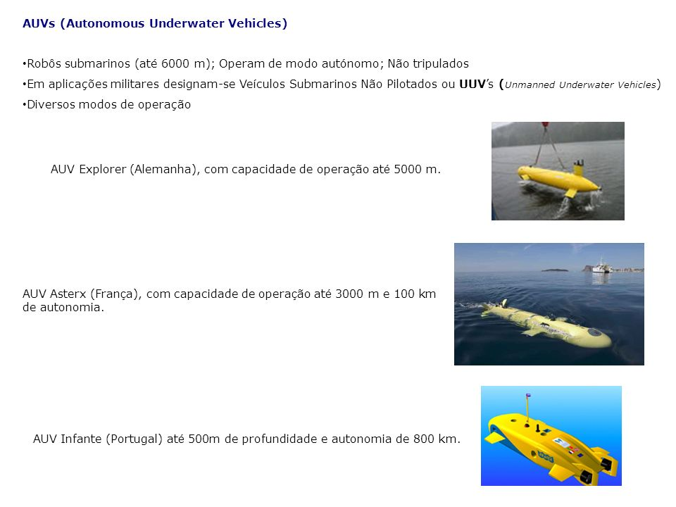 AUVs (Autonomous Underwater Vehicles)