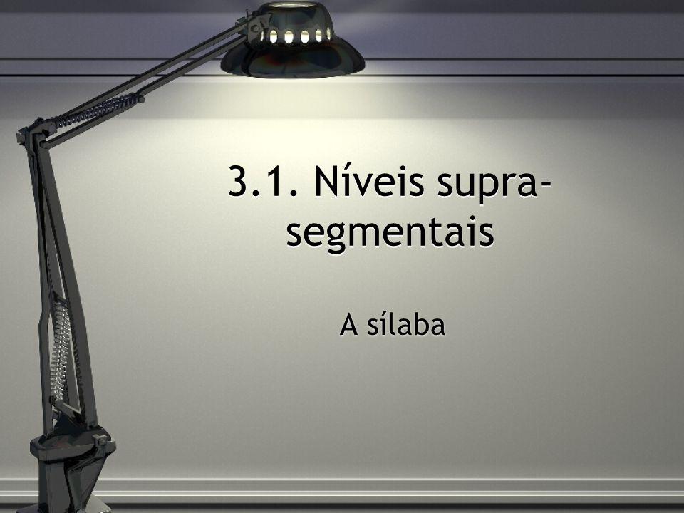 3.1. Níveis supra-segmentais