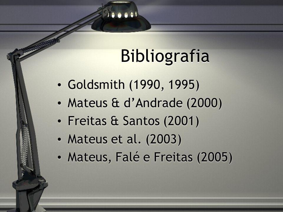 Bibliografia Goldsmith (1990, 1995) Mateus & d'Andrade (2000)