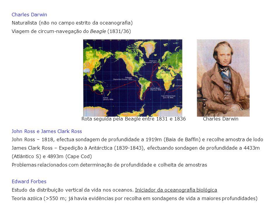 Charles Darwin Naturalista (não no campo estrito da oceanografia) Viagem de circum-navegação do Beagle (1831/36)