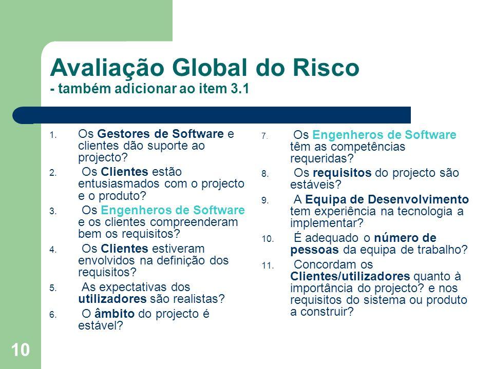 Avaliação Global do Risco - também adicionar ao item 3.1