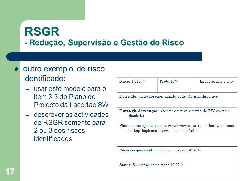 RSGR - Redução, Supervisão e Gestão do Risco
