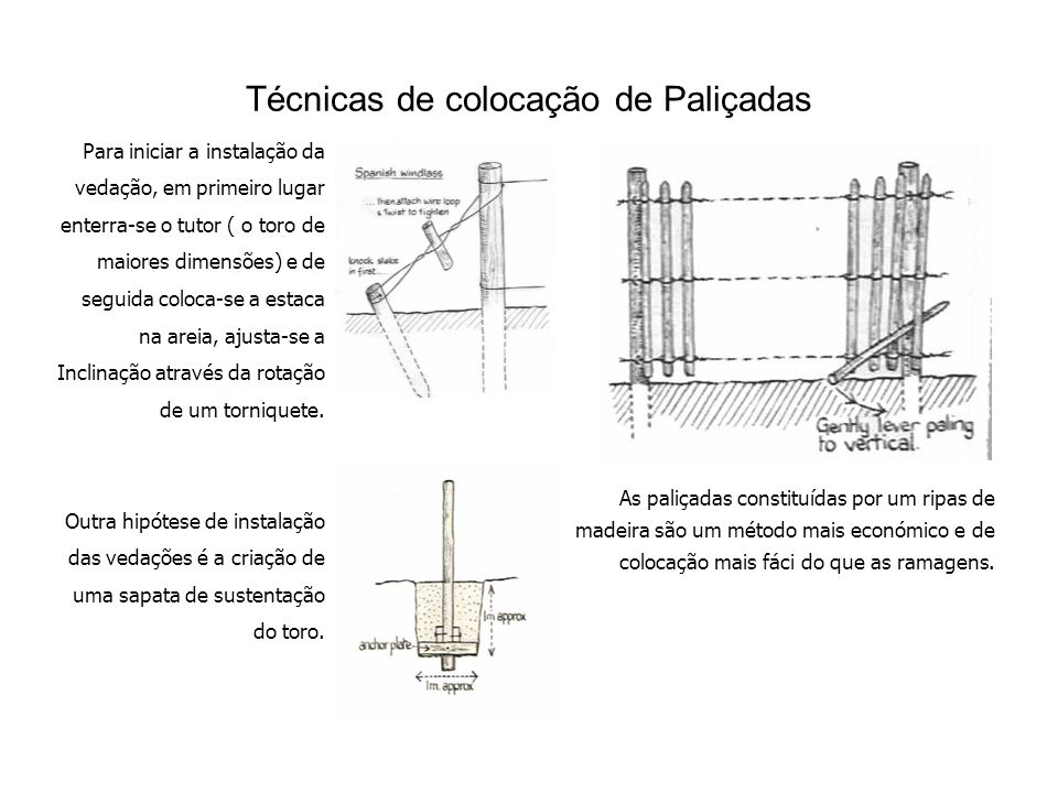 Técnicas de colocação de Paliçadas