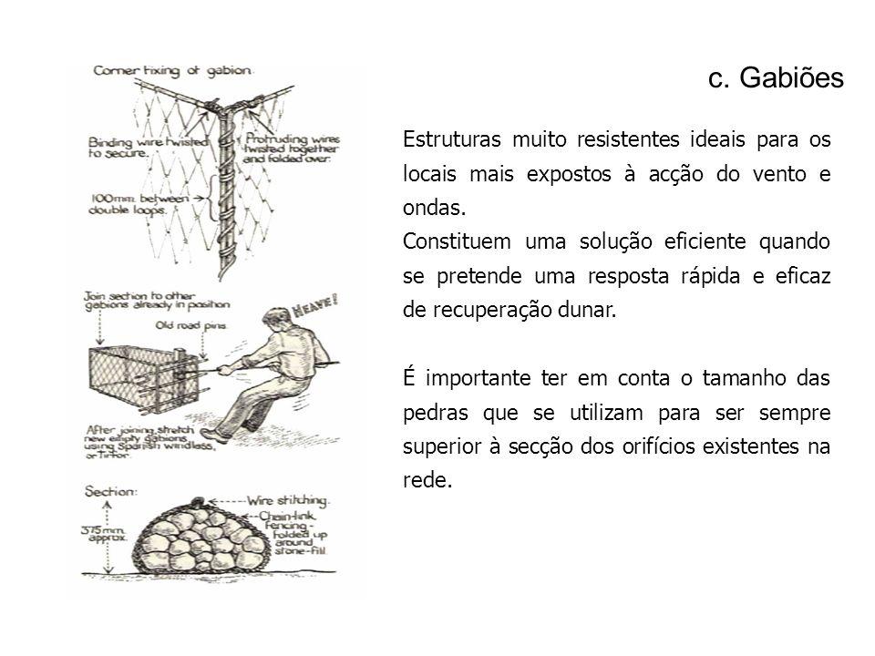 c. Gabiões Estruturas muito resistentes ideais para os locais mais expostos à acção do vento e ondas.
