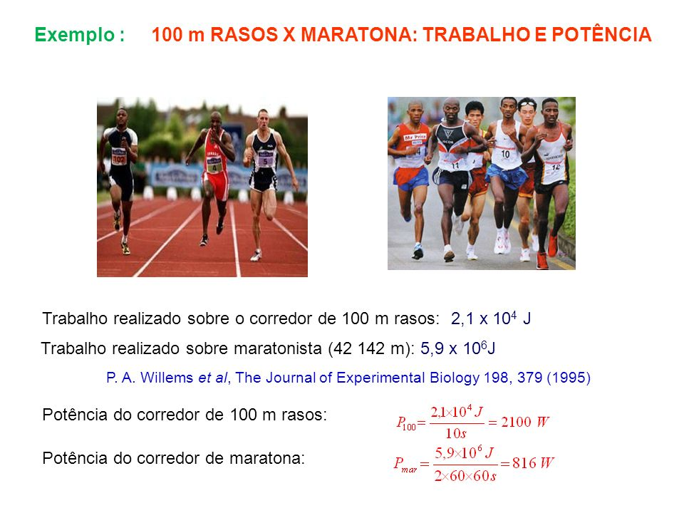 Exemplo : 100 m RASOS X MARATONA: TRABALHO E POTÊNCIA