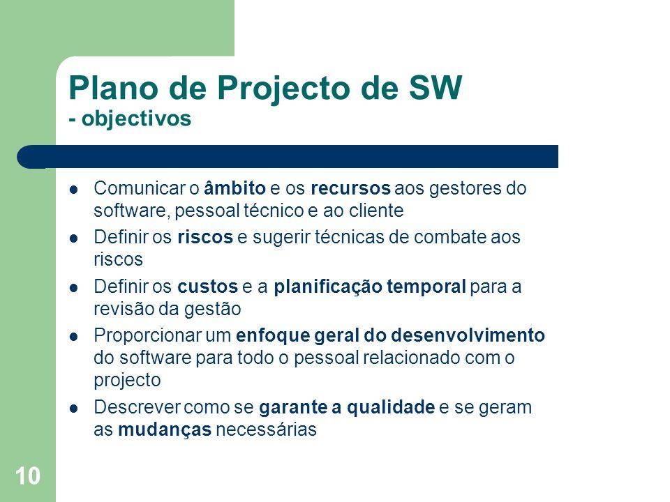 Plano de Projecto de SW - objectivos
