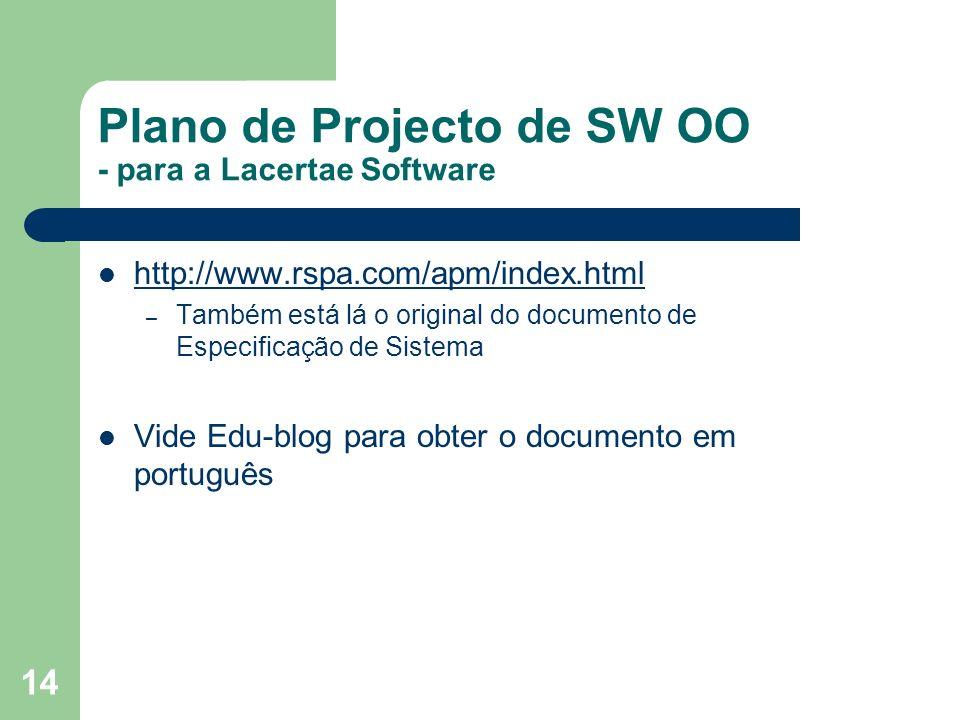 Plano de Projecto de SW OO - para a Lacertae Software