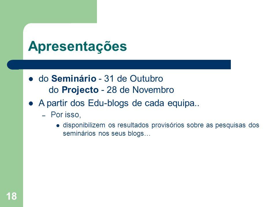 Apresentações do Seminário - 31 de Outubro do Projecto - 28 de Novembro. A partir dos Edu-blogs de cada equipa..