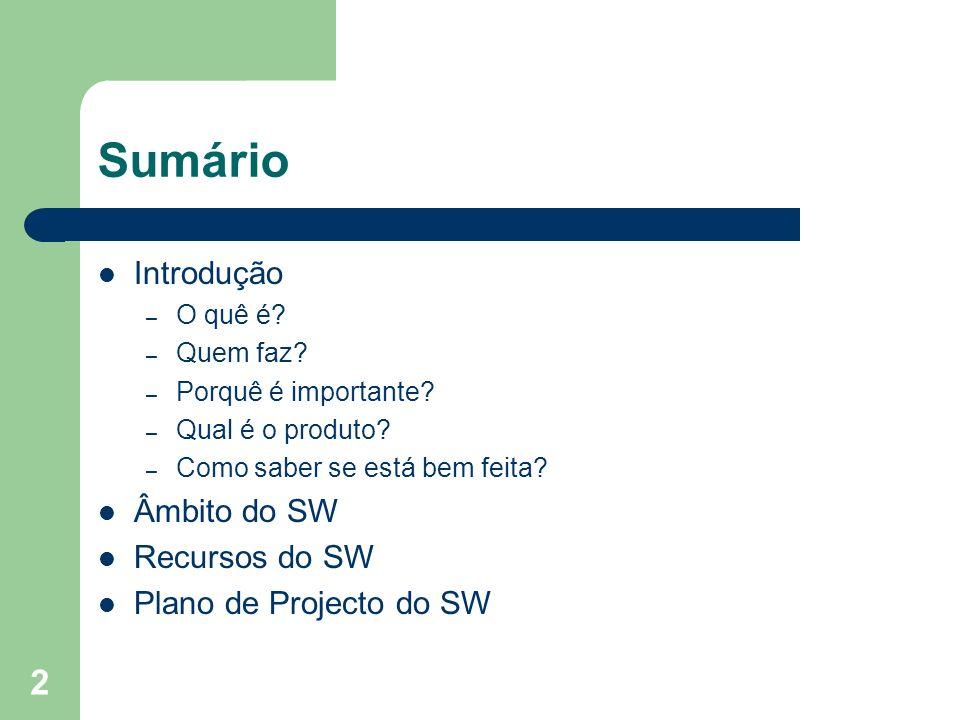 Sumário Introdução Âmbito do SW Recursos do SW Plano de Projecto do SW