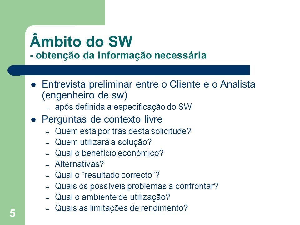 Âmbito do SW - obtenção da informação necessária