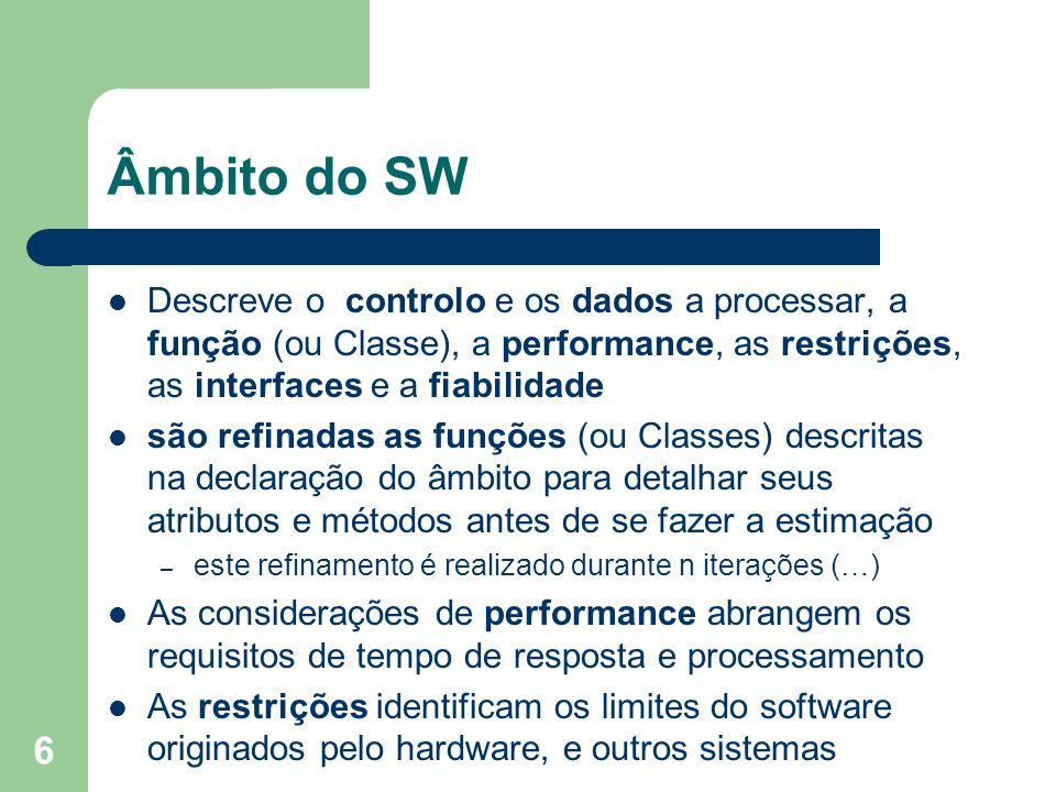 Âmbito do SW Descreve o controlo e os dados a processar, a função (ou Classe), a performance, as restrições, as interfaces e a fiabilidade.