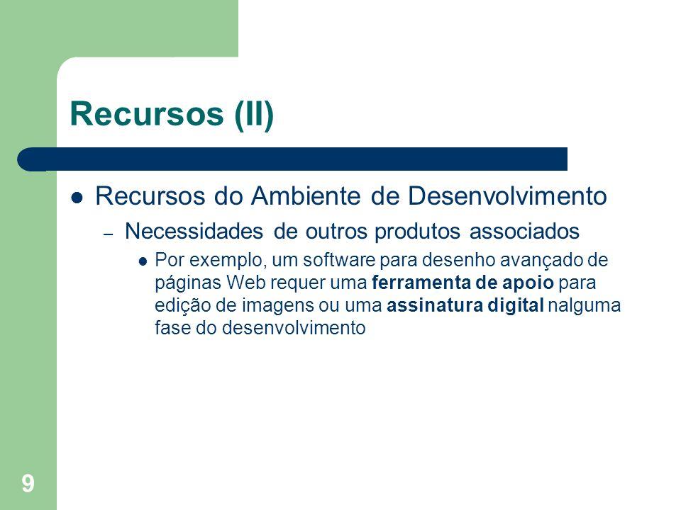 Recursos (II) Recursos do Ambiente de Desenvolvimento