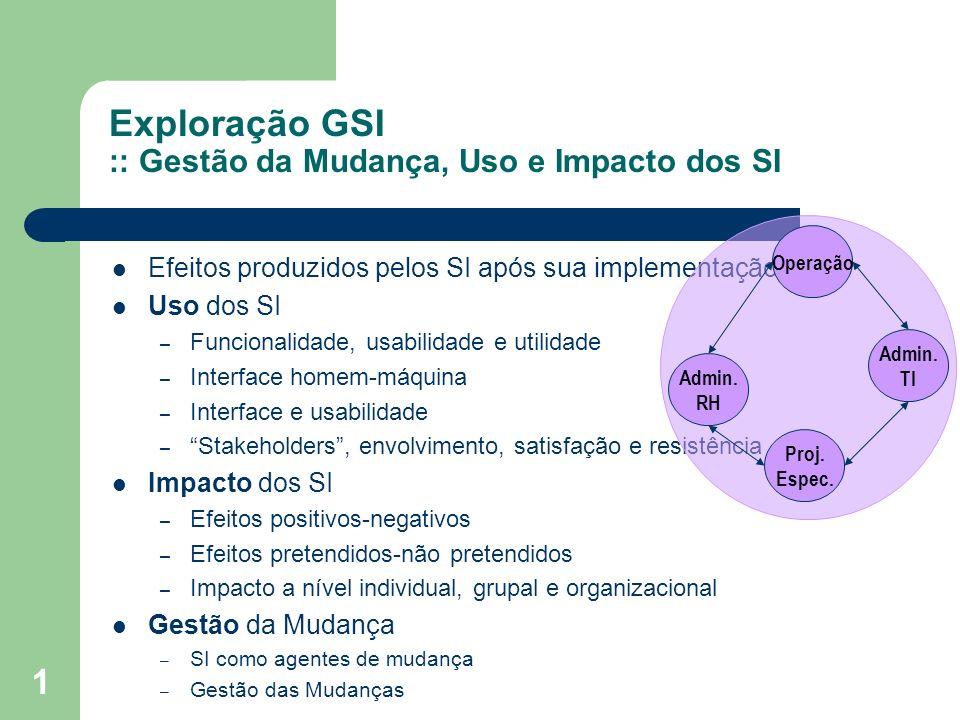 Exploração GSI :: Gestão da Mudança, Uso e Impacto dos SI