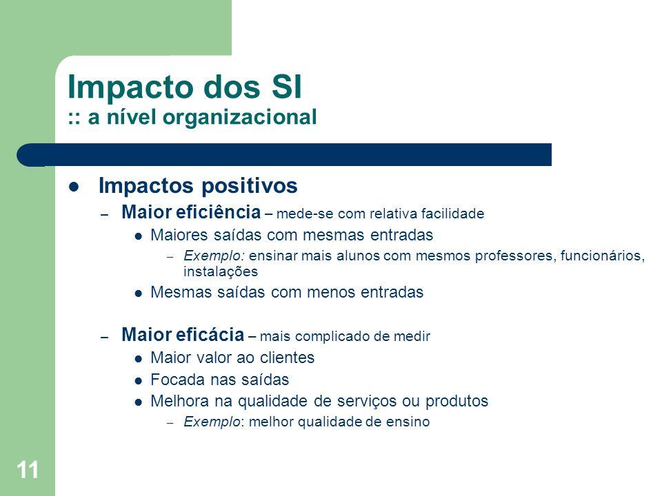 Impacto dos SI :: a nível organizacional