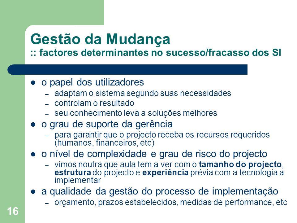 Gestão da Mudança :: factores determinantes no sucesso/fracasso dos SI
