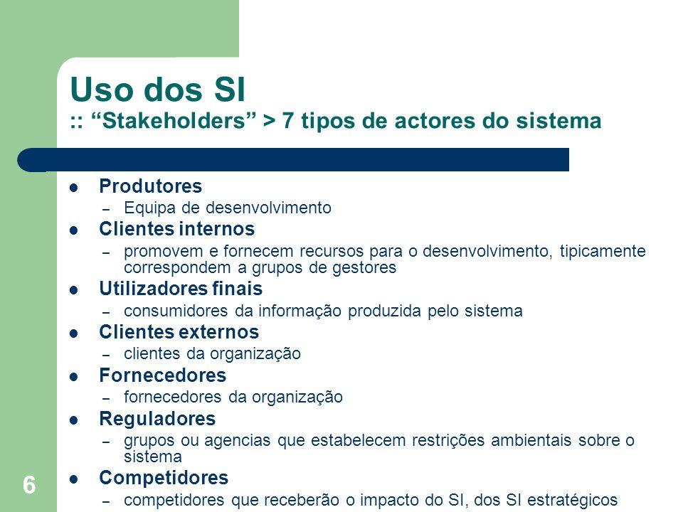 Uso dos SI :: Stakeholders > 7 tipos de actores do sistema